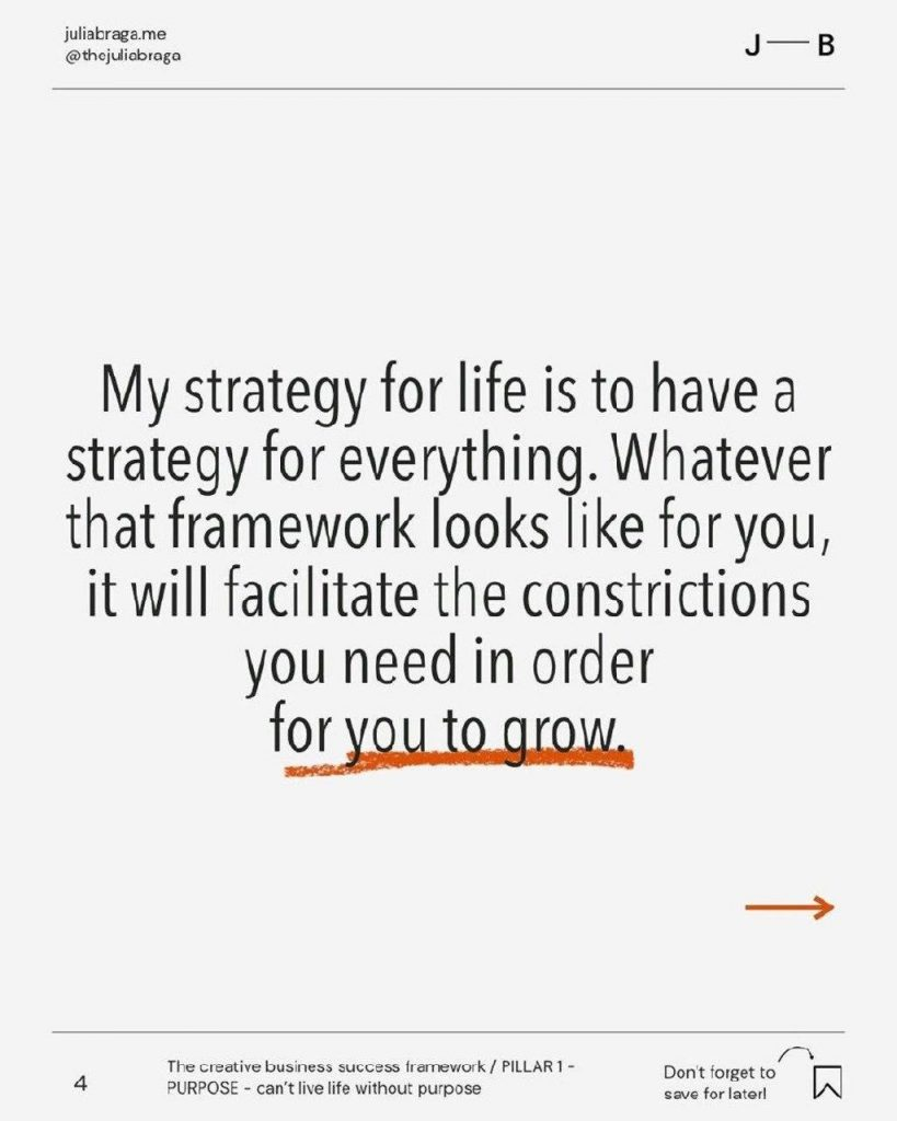 My strategy for life is to have a strategy for everything. Whatever that framework looks like for you, it will facilitate the constrictions you need in order for row.