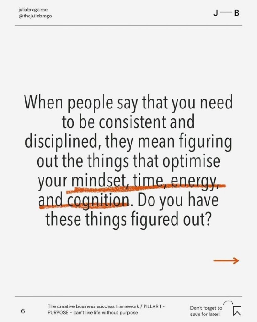 When people say that you need to be consistent and disciplined, they mean figuring out the things that optimise your mindset, time, energy, and cognition. Do you have these things figured out?