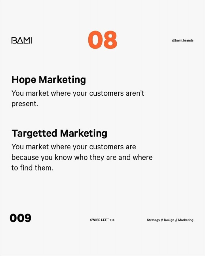 Hope marketing  You market where your customers aren't present.  Targetted Marketing  You market where your customers are because you know who they are and where to find them.