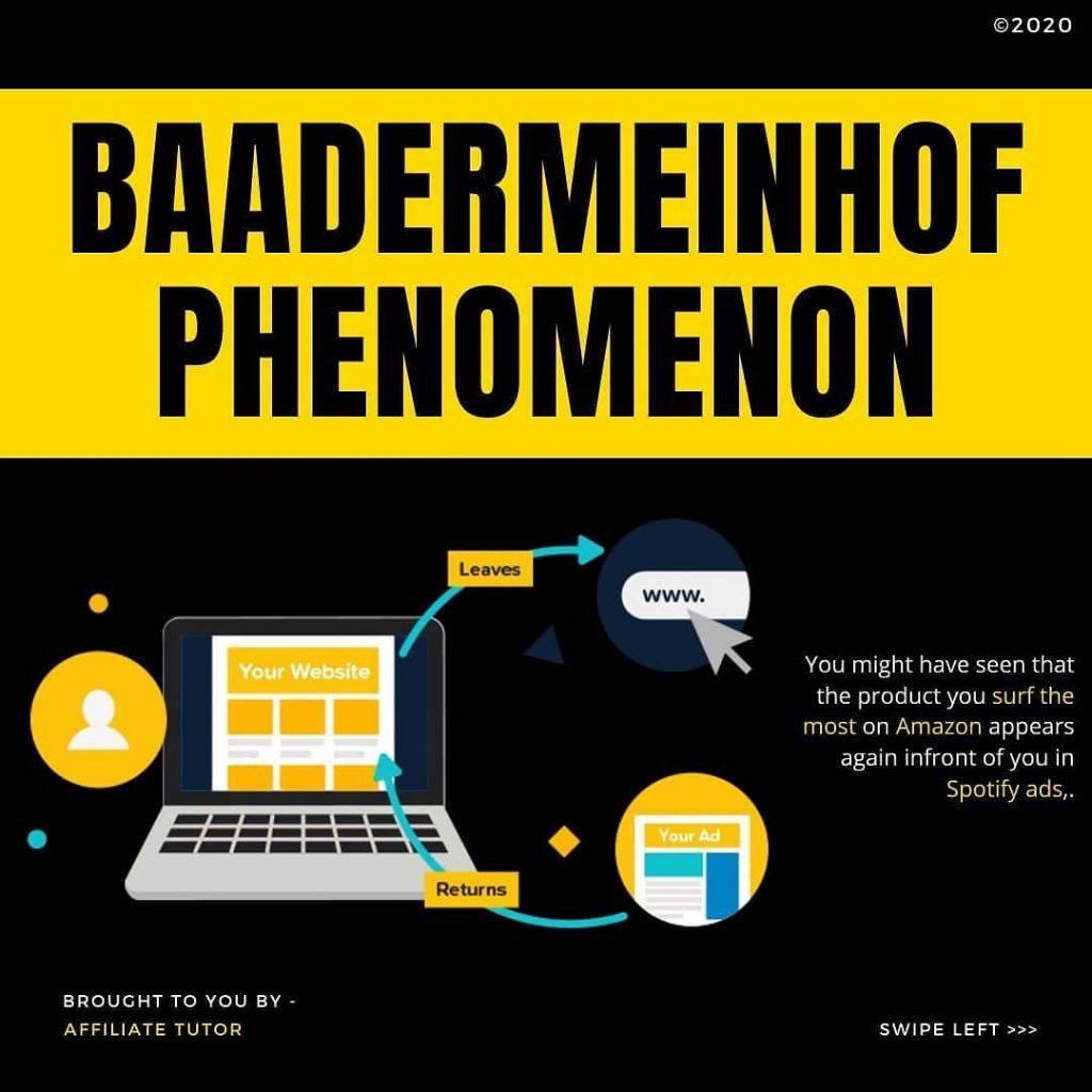 BAADERMEINHOF PHENOMIENON  You might have seen that the product you surf the most on Amazon appears again infront of you in Spotify ads,.