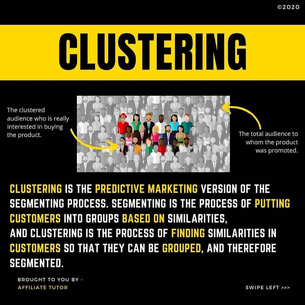 CLUSTERING  The clustered audience who is really interested in buying the product.  The total audience to whom the product was promoted.  CLUSTERING IS THE PREDICTIVE MARKETING VERSION OF THE SEGMENTING PROCESS. SEGMENTING IS THE PROCESS OF PUTTING CUSTOMERS INTO GROUPS BASED ON SIMILARITIES, AND CLUSTERING IS THE PROCESS OF FINDING SIMILARITIES IN CUSTOMERS SO THAT THEY CAN BE GROUPED, AND THEREFORE SEGMENTED.
