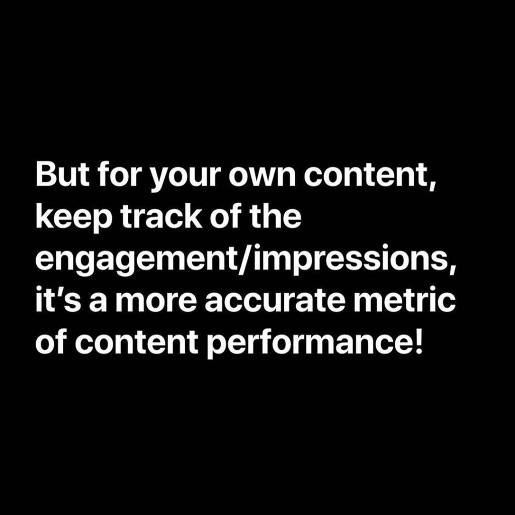 But for your own content, keep track of the engagement/impressions, it's a more accurate metric of content performance!