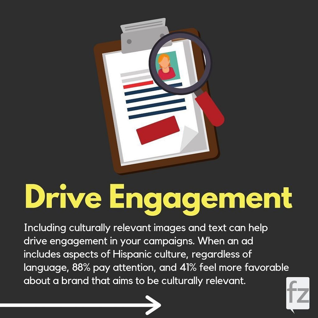 Drive Engagement  Including culturally relevant images and text can help drive engagement in your campaigns. When an ad includes aspects of Hispanic culture, regardless of language, 88% pay attention, and 41% feel more favorable about a brand that aims to be culturally relevant.