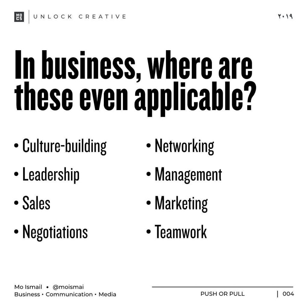 In business, where are these even applicable?  • Culture-building • Networking • Leadership • Management • Sales • Marketing • Negotiations • Teamwork