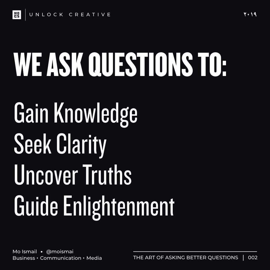 WE ASK QUESTIONS TO:  Gain Knowledge Seek Clarity Uncover Truths Guide Enlightenment