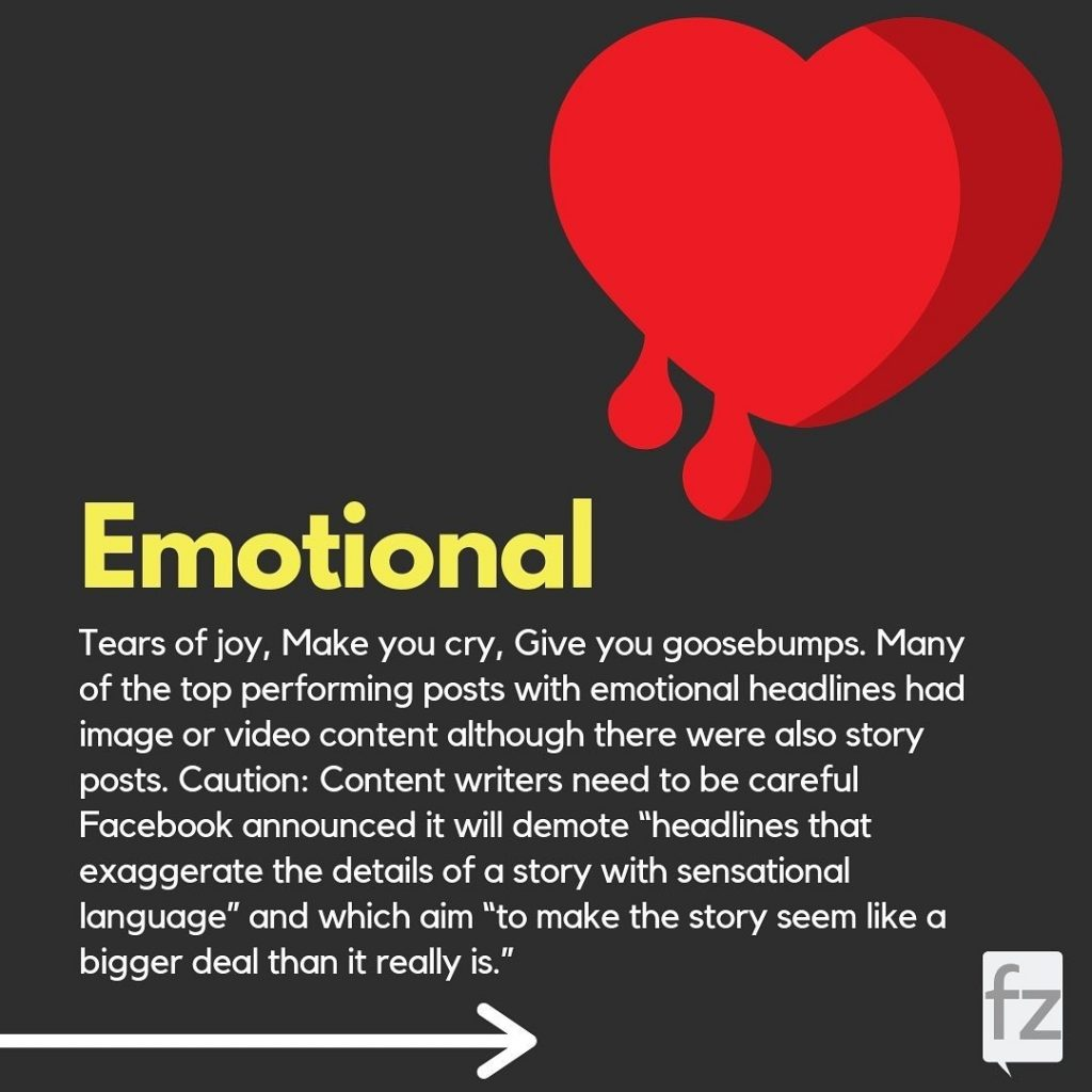 """Emotional  Tears of joy, Make you cry, Give you goosebumps. Many of the top performing posts with emotional headlines had image or video content although there were also story posts. Caution: Content writers need to be careful Facebook announced it will demote """"headlines that exaggerate the details of a story with sensational language"""" and which aim """"to make the story seem like a bigger deal than it really is."""""""