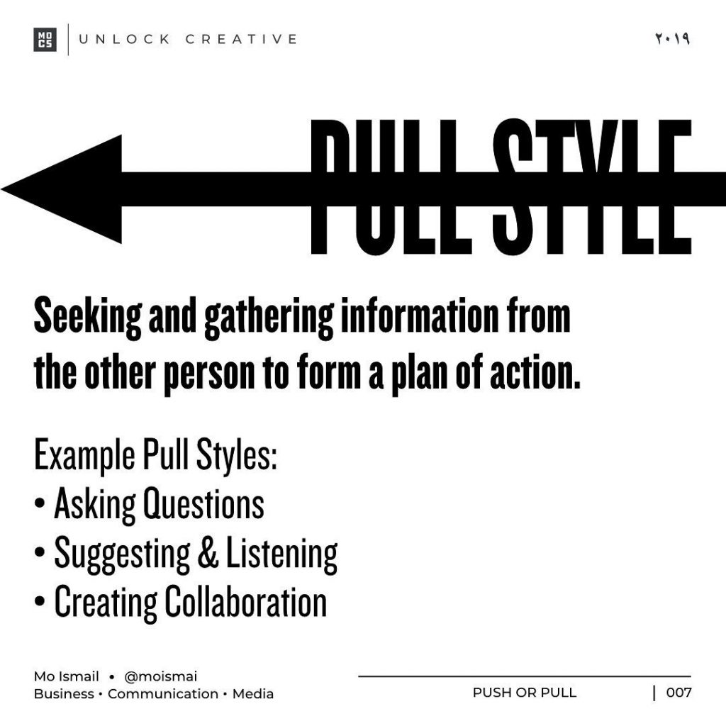 PULL STYLE Seeking and gathering information from the other person to form a plan of action. Example Pull Styles: • Asking Questions • Suggesting &, Listening • Creating Collaboration