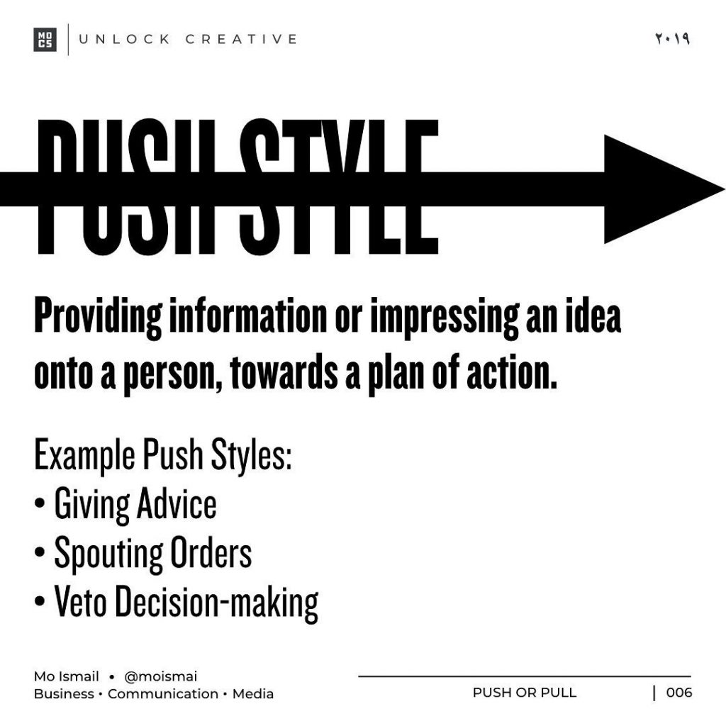 PUSH STYLE  Providing information or impressing an idea onto a person, towards a plan of action. Example Push Styles: • Giving Advice • Spouting Orders • Veto Decision-making