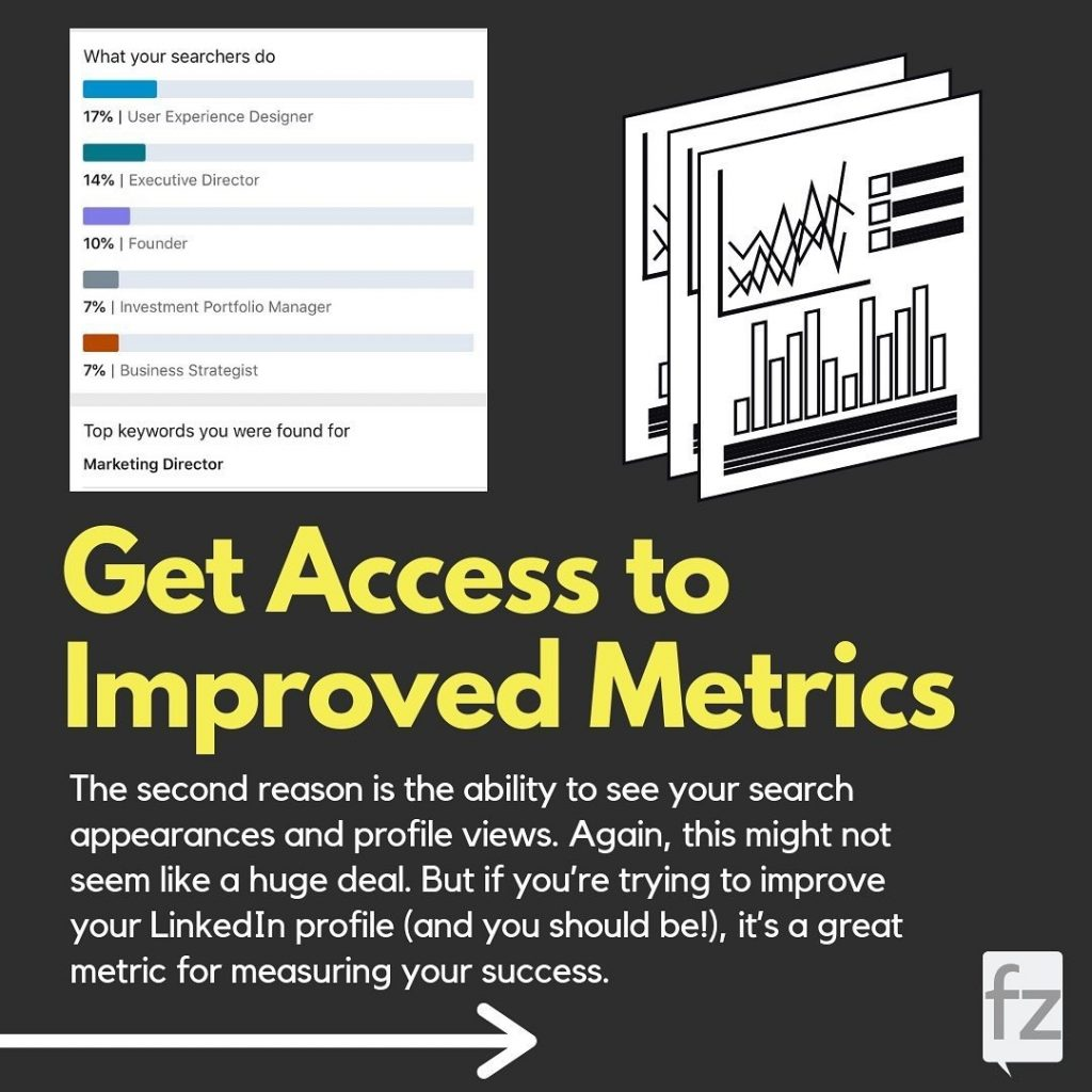 Get Access to Improved Metrics  The second reason is the ability to see your search appearances and profile views. Again, this might not seem like a huge deal. But if you're trying to improve your Linked In profile (and you should be!), it's a great metric for measuring your success.