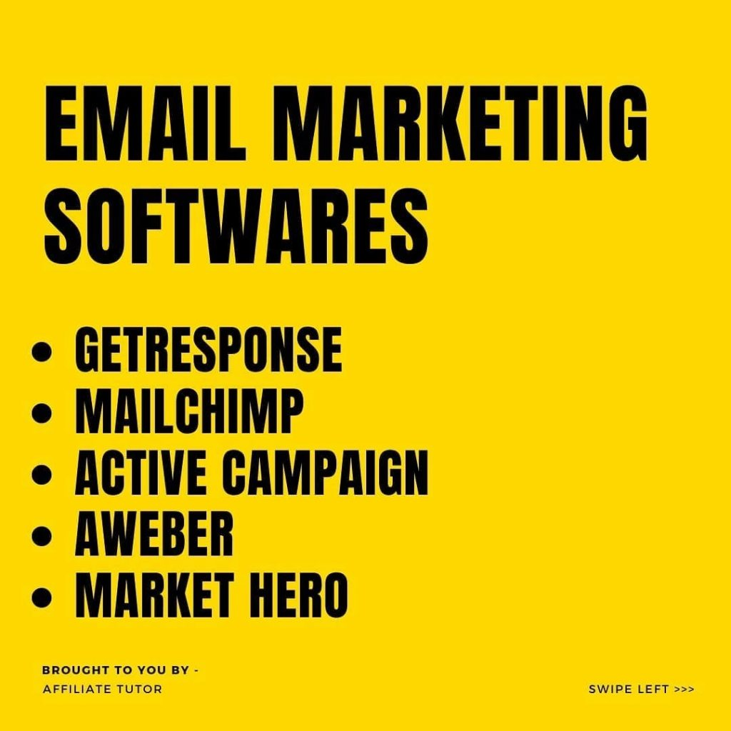 EMAIL MARKETING SOFTWARES  • GETRESPONSE • MAILCHIMP • ACTIVE CAMPAIGN • AWEBER • MARKET HERO