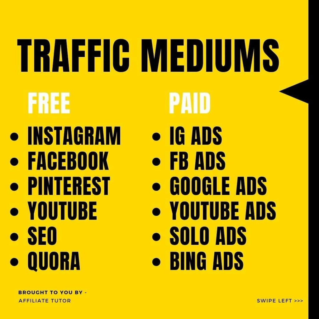 TRAFFIC MEDIUMS  • INSTAGRAM • FACEBOOK • PINTEREST • YOUTUBE • SE0 • QUORA  • IG ADS • FB ADS • GOOGLE ADS • YOUTUBE ADS • SOLO ADS • BING ADS