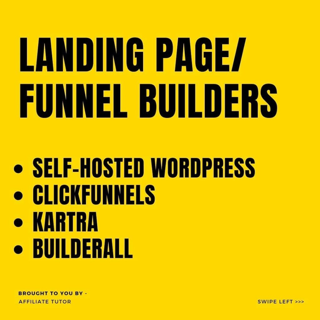 LANDING PAGE/ FUNNEL BUILDERS  • SELF-HOSTED WORDPRES • CLICKFUNNELS • KARTRA • BUILDERALL