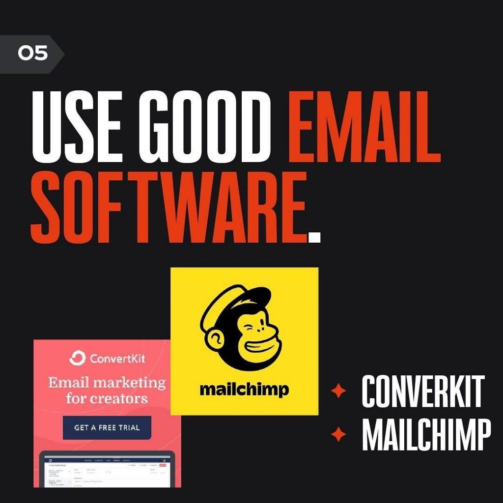 USE GOOD EMAIL SOFTWARE.  CONVERKIT + MAILCHIMP