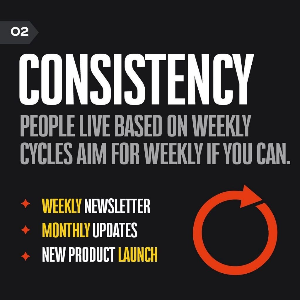 CONSISTENCY  PEOPLE LIVE BASED ON WEEKLY CYCLES AIM FOR WEEKLY IF YOU CAN.  WEEKLY NEWSLETTER MONTHLY UPDATES NEW PRODUCT LAUNCH