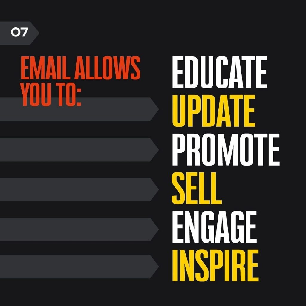 EMAIL ALLOWS YOU TO:  EDUCATE UPDATE PROMOTE SELL ENGAGE INSPIRE