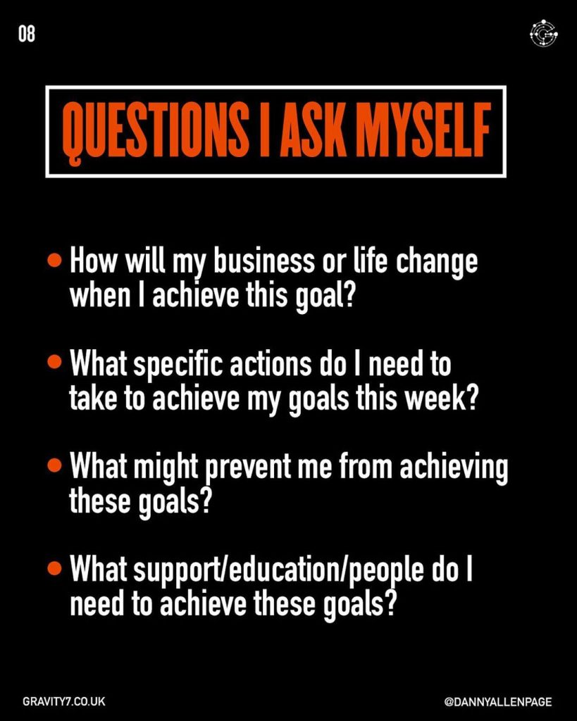 QUESTIONS I ASK MYSELF  How will my business or life change when I achieve this goal?  What specific actions do I need to take to achieve my goals this week? What might prevent me from achieving these goals?  What support/educationlpeople do I need to achieve these goals?