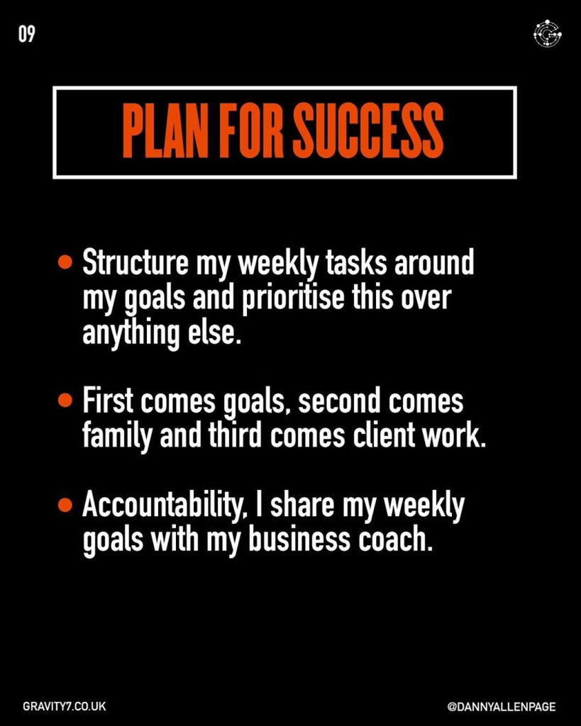 PLAN FOR SUCCESS  Structure my weekly tasks around my goals and prioritise this over anything else.  First comes goals, second comes family and third comes client work.  Accountability, I share my weekly goals with my business coach.