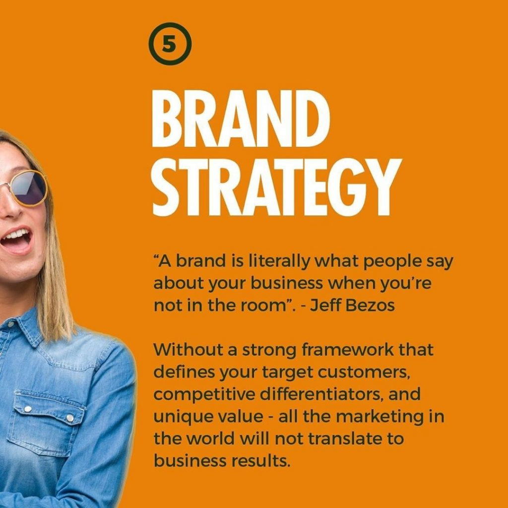 """BRAND STRATEGY  """"A brand is literally what people say about your business when you're not in the room"""". - Jeff Bezos  Without a strong framework that defines your target customers, competitive differentiators, and unique value - all the marketing in the world will not translate to business results."""