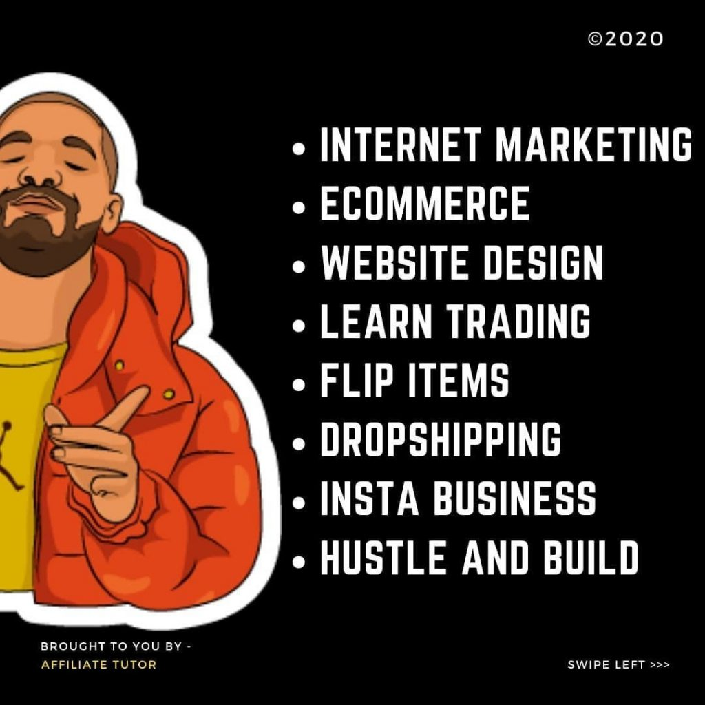 Internet marketing eCommerce Website design Learn trading Flip items Dropshipping Insta business Hustle and build