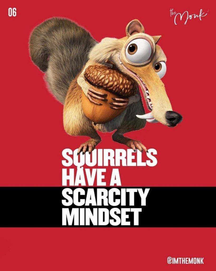 Squirrels have a scarcity mindset