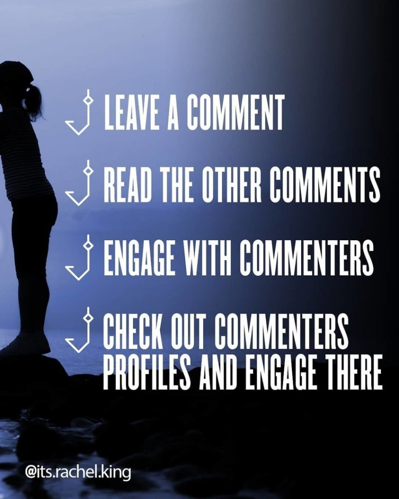 Leave a comment Read the others comments Engage with commenters Check out commenters profiles and engage there