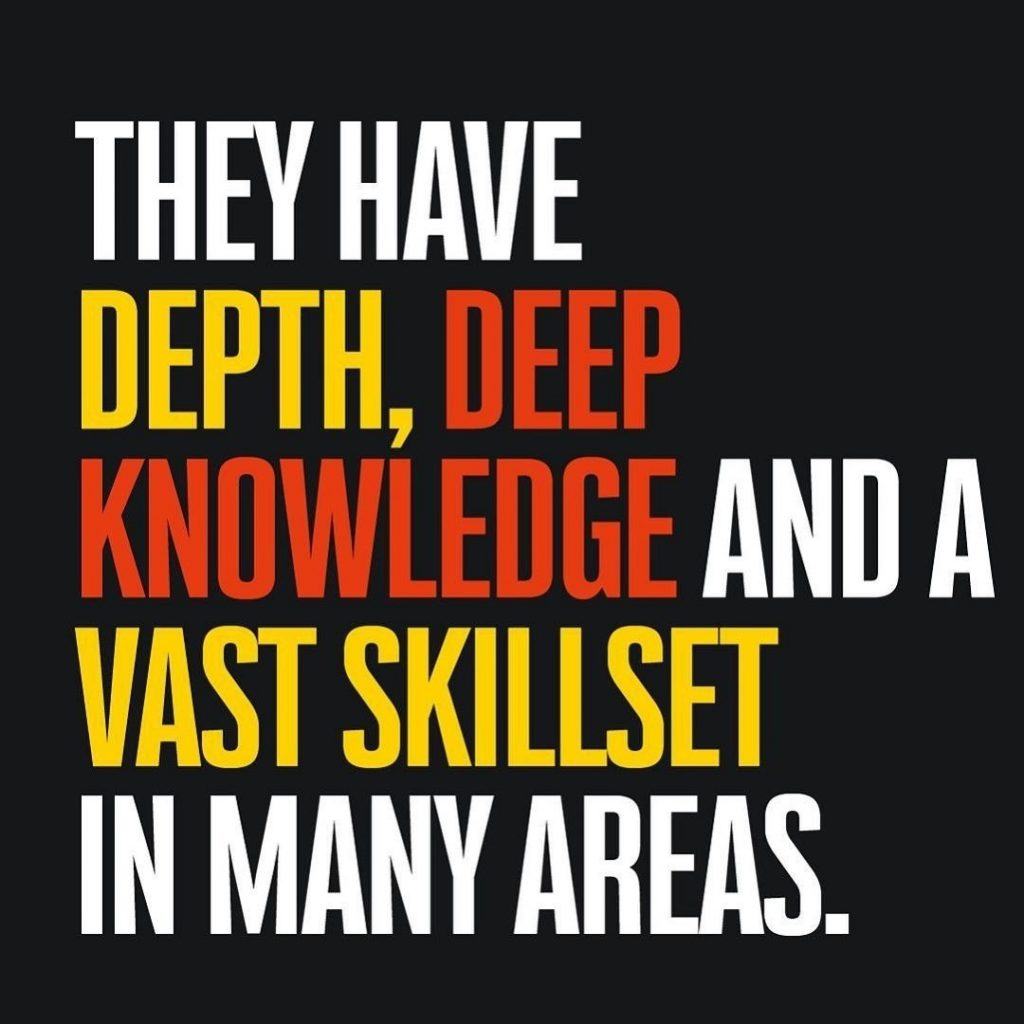 They have depth, deep knowledge and a vast skillset in many areas