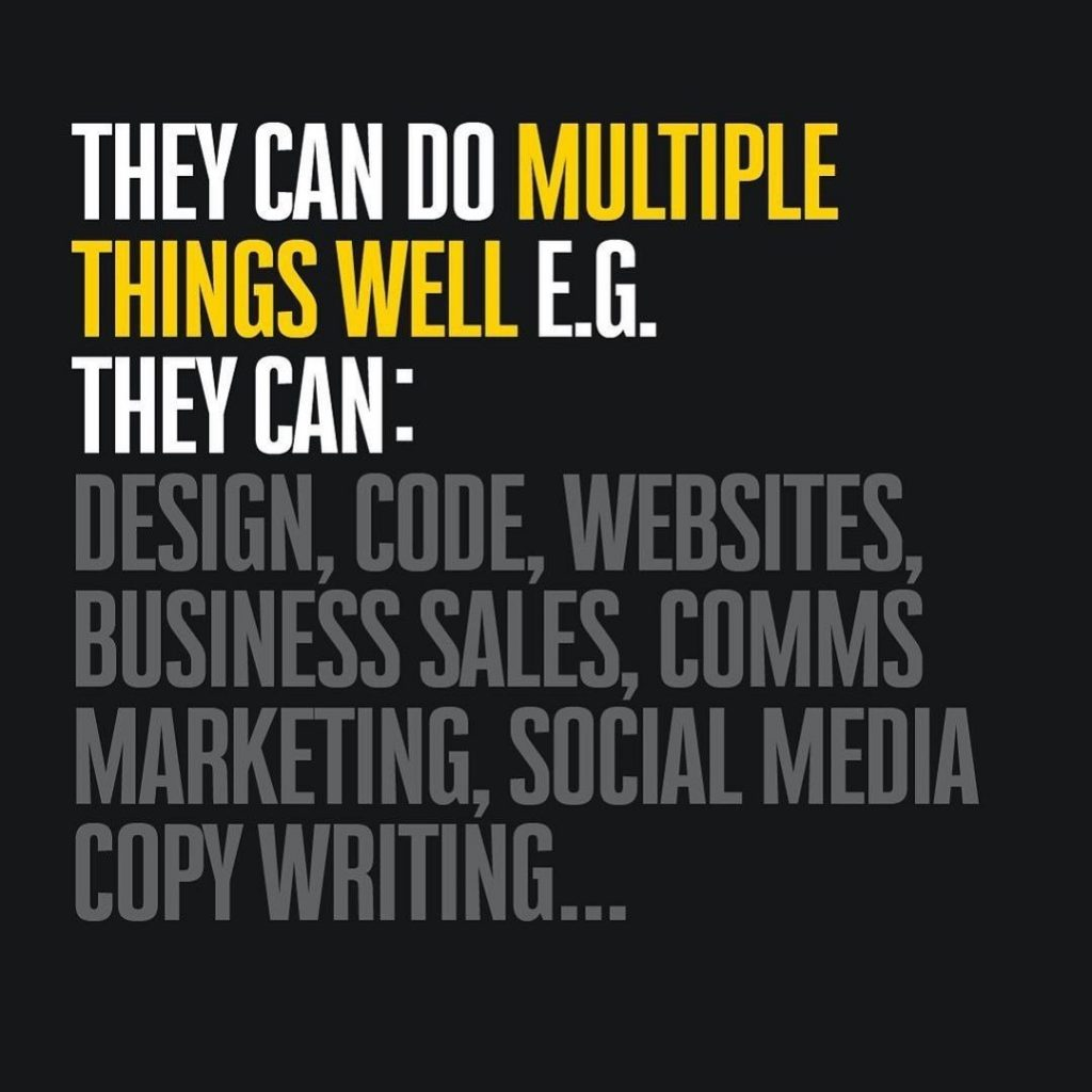 They can do multiple things well e.g. they can: Design, code, websites, business sales, comms marketing, social media copy writing...