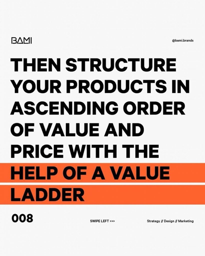 Then structure your products in ascending order of value and price with the help of a value ladder