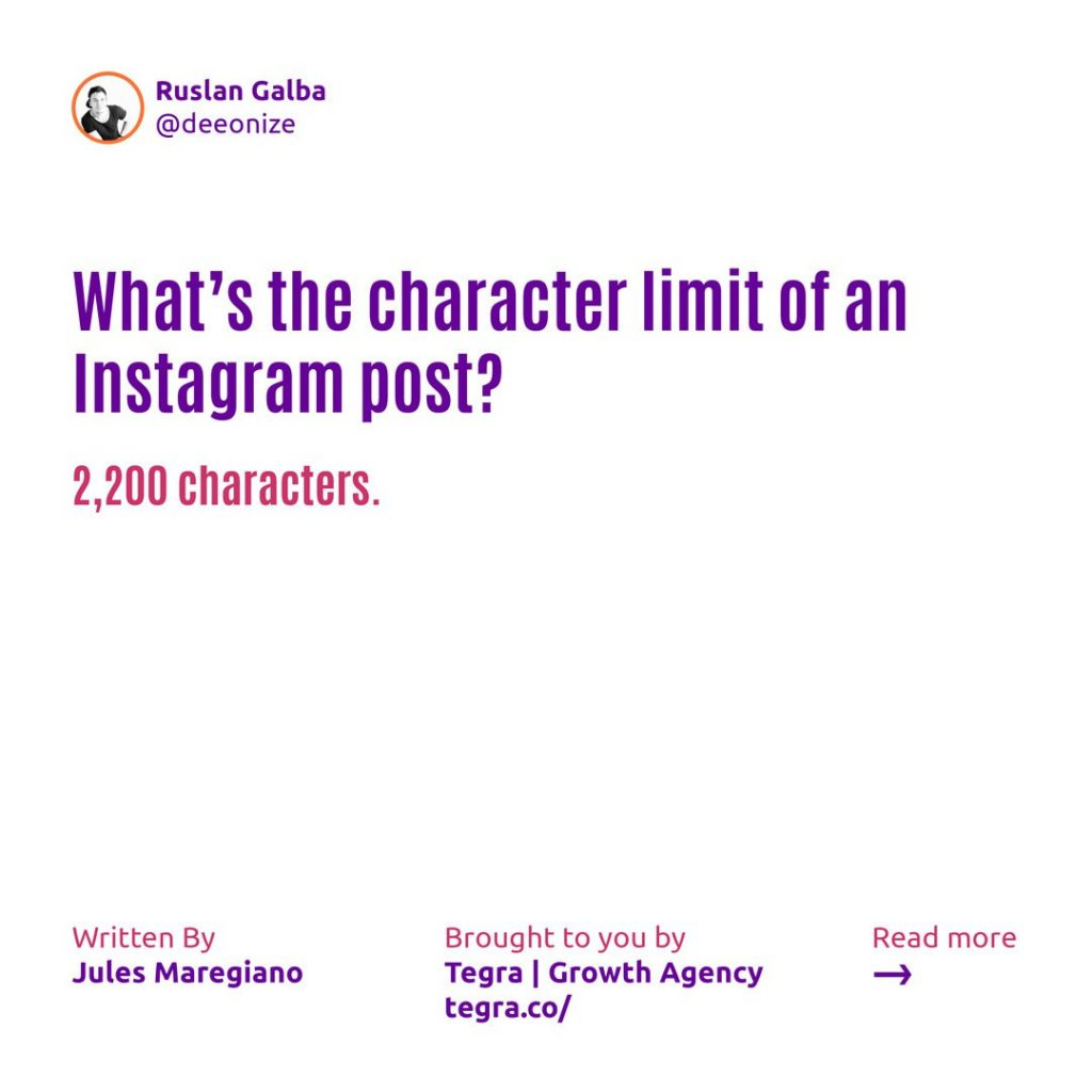 What's the character limit of an Instagram post ❔  2,200 characters.