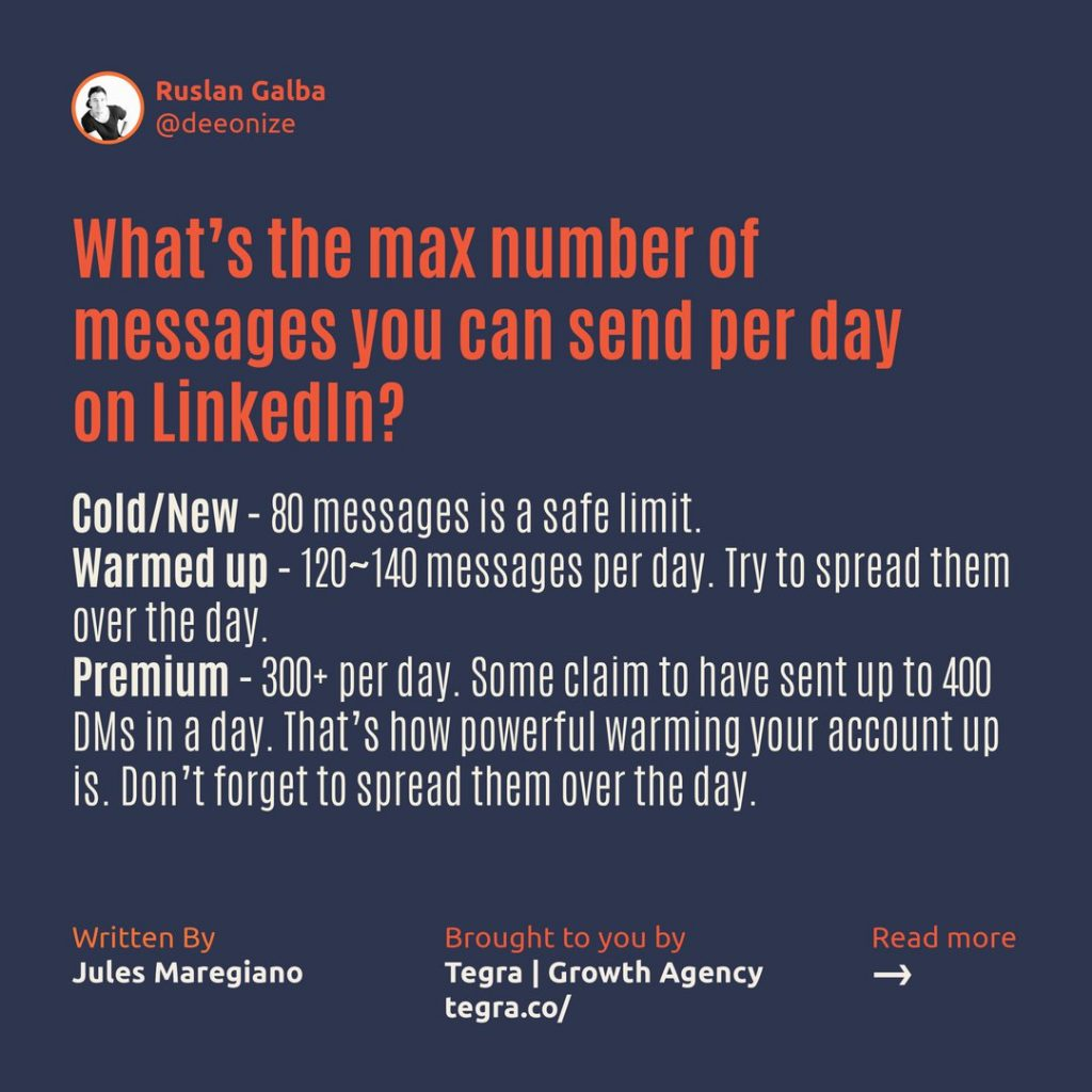 What's the maximum number of messages you can send per day on LinkedIn ❔ ❄️ 80 messages is a safe limit. 🔥️ 120~140 messages per day. Try to spread them throughout the day. 💰 300+ per day. Some claim to have sent up to 400 DMs in a day.