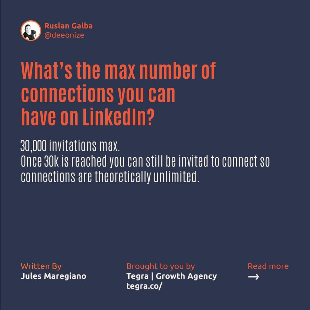 What's the maximum number of connections you can have on LinkedIn ❔  30,000 invitations max. Once 30k is reached you can still be invited to connect so connections are theoretically unlimited.