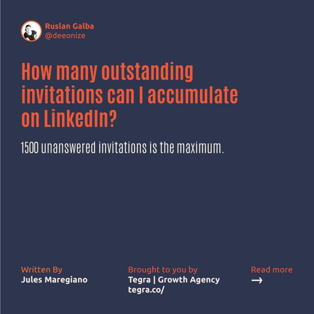How many outstanding invitations can I accumulate on LinkedIn ❔  1500 unanswered invitations is the maximum.