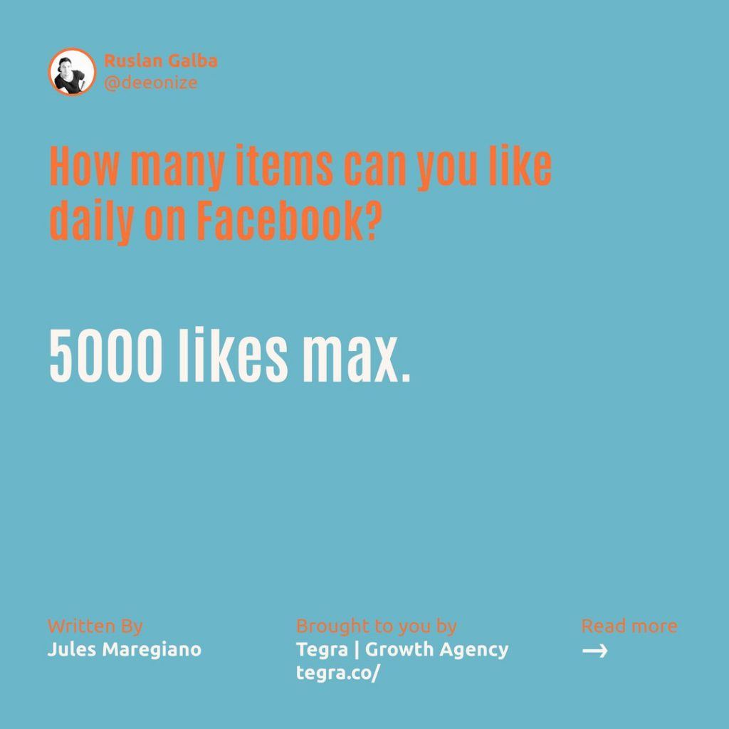 How many items can you like daily on Facebook ❔  5000 likes max.