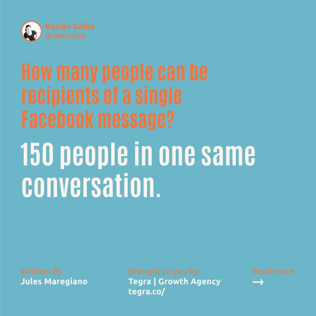 How many people can be recipients of a single Facebook message ❔  150 people in one same conversation.
