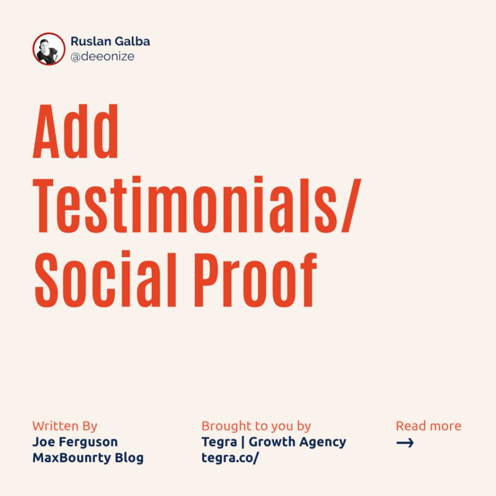 2️⃣ Add Testimonials/Social Proof  Since your landing page exists as a separate entity from the campaign you're promoting, infusing it with some legitimacy can go a long way in creating trust between it and users.