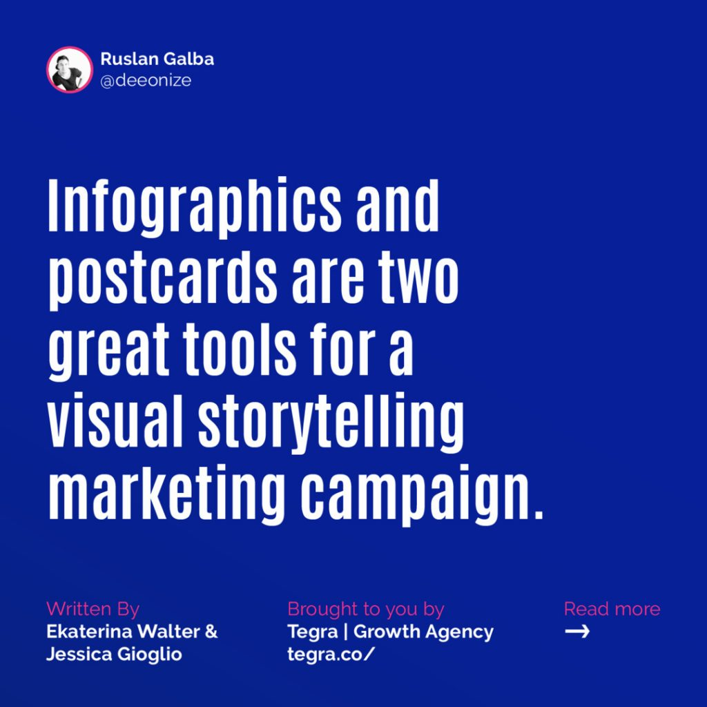 Infographics and postcards are two great tools for a visual storytelling marketing campaign.