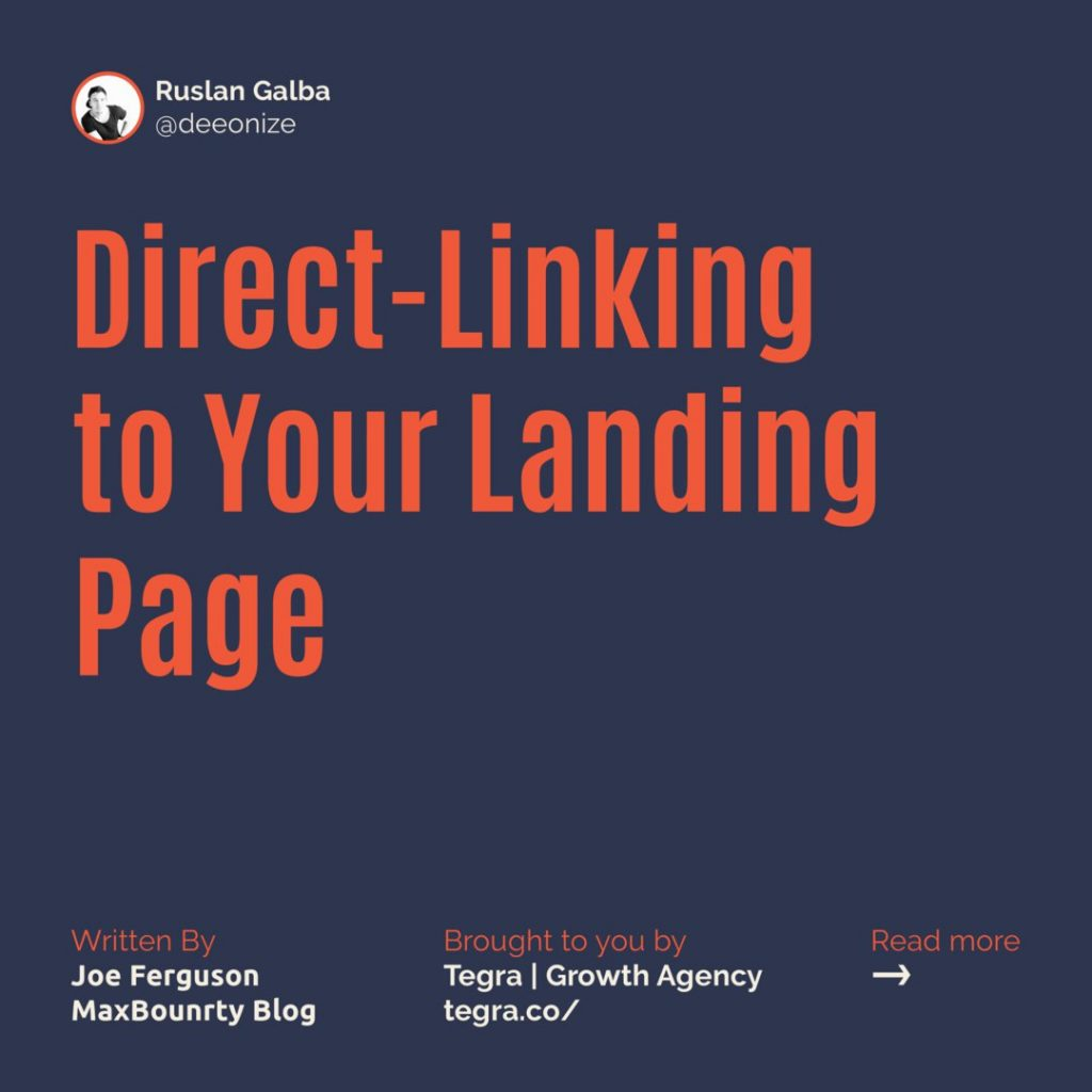 1️⃣ Direct-Linking to Your Landing Page ⠀ This one may seem obvious if you're not a beginner but it's too important not to include. We also still see a lot of new affiliates make this mistake.