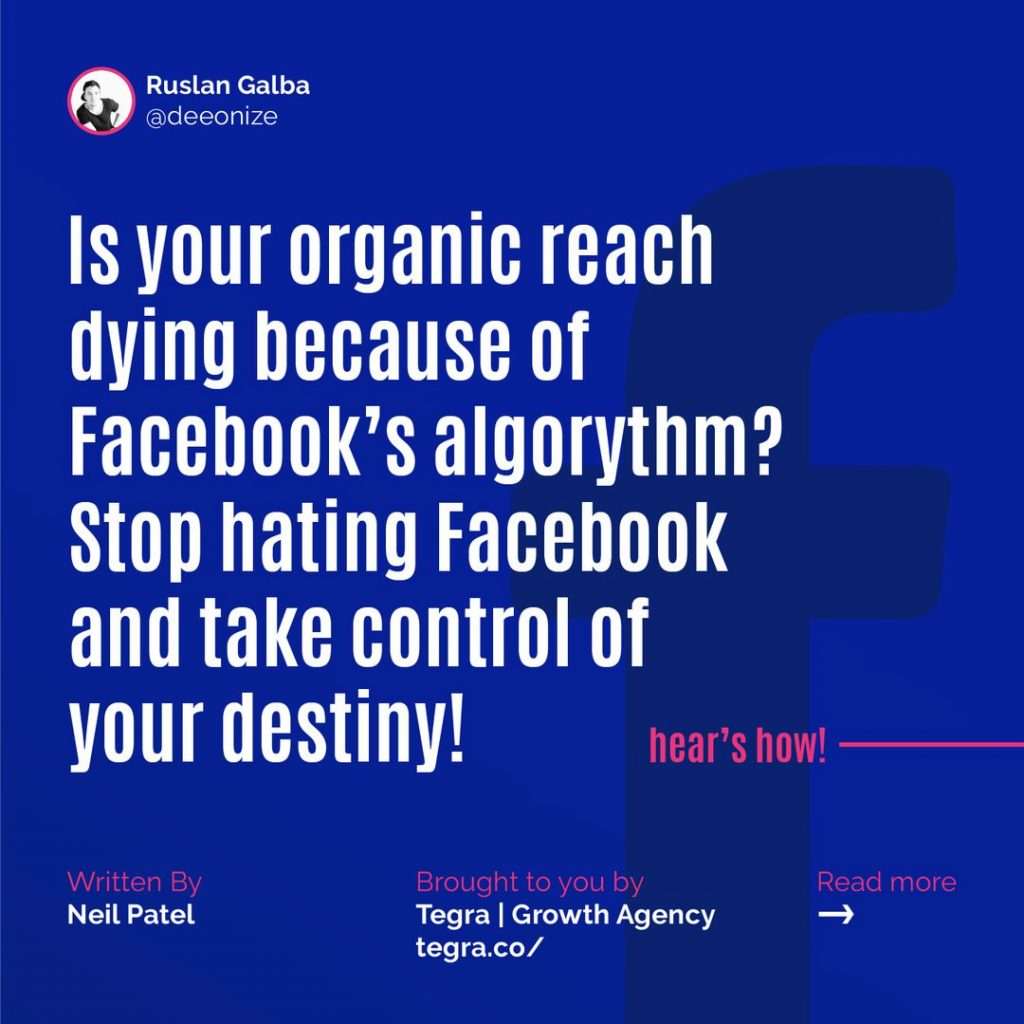 Is your organic reach dying because of Facebook's algorithm? Stop hating Facebook and take control of your destiny!